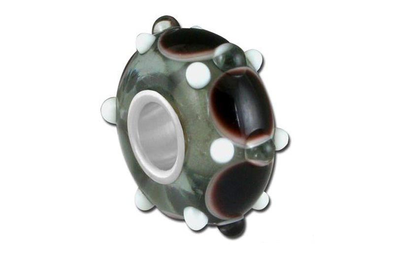 Black Wheely Glass Bead - Black