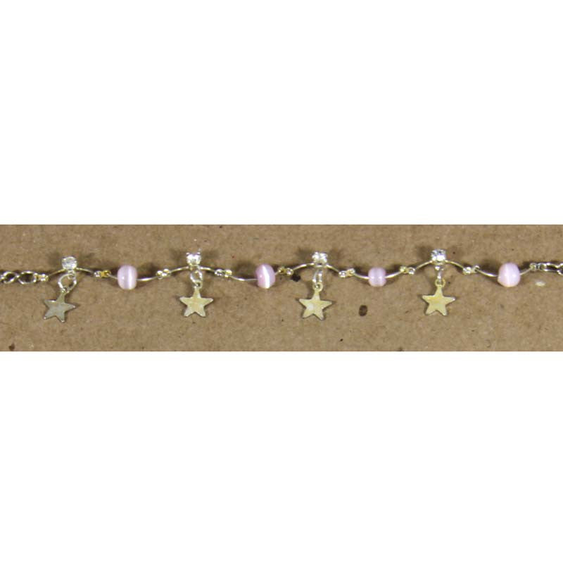 Ankle Bracelet Stars Lavender adjustable to 10.5""