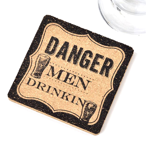 Cork Coaster Danger Men Drinking