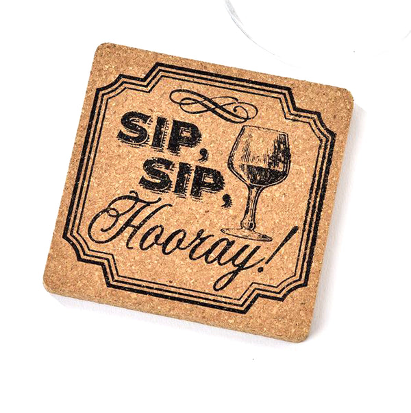 Cork Coaster Sip, Sip, Hooray