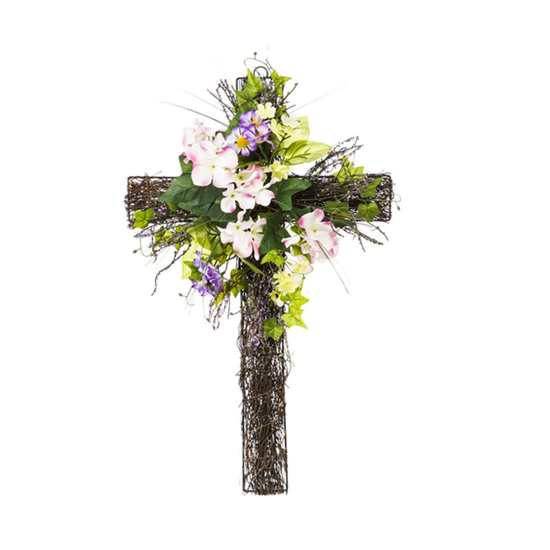 Spring Pink Floral Wall Cross