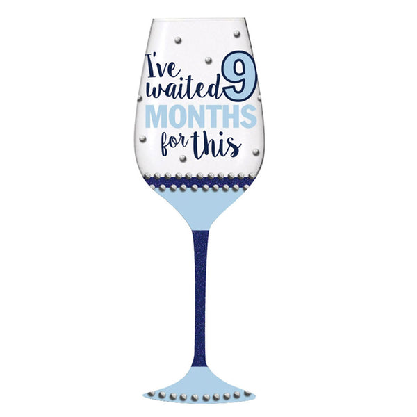 Wine Glass, 12 oz., Months Boy