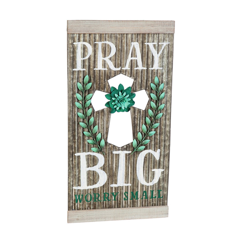 Corrugated Metal Wall Art, Pray Big