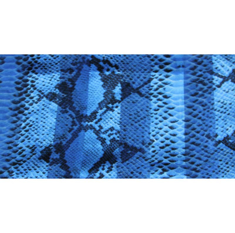 "Long Scarf 60"" x 13"" Blue Snakeskin Satin/Sheer"