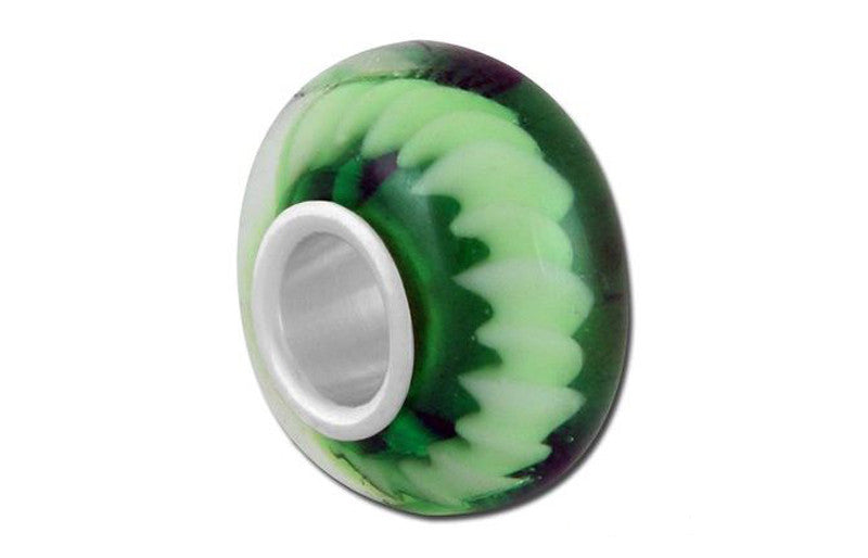 Green Twister Glass Bead - Green