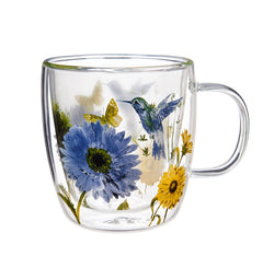 Double Wall Glass Café Cup w/ Box, 12 OZ., Floral Garden