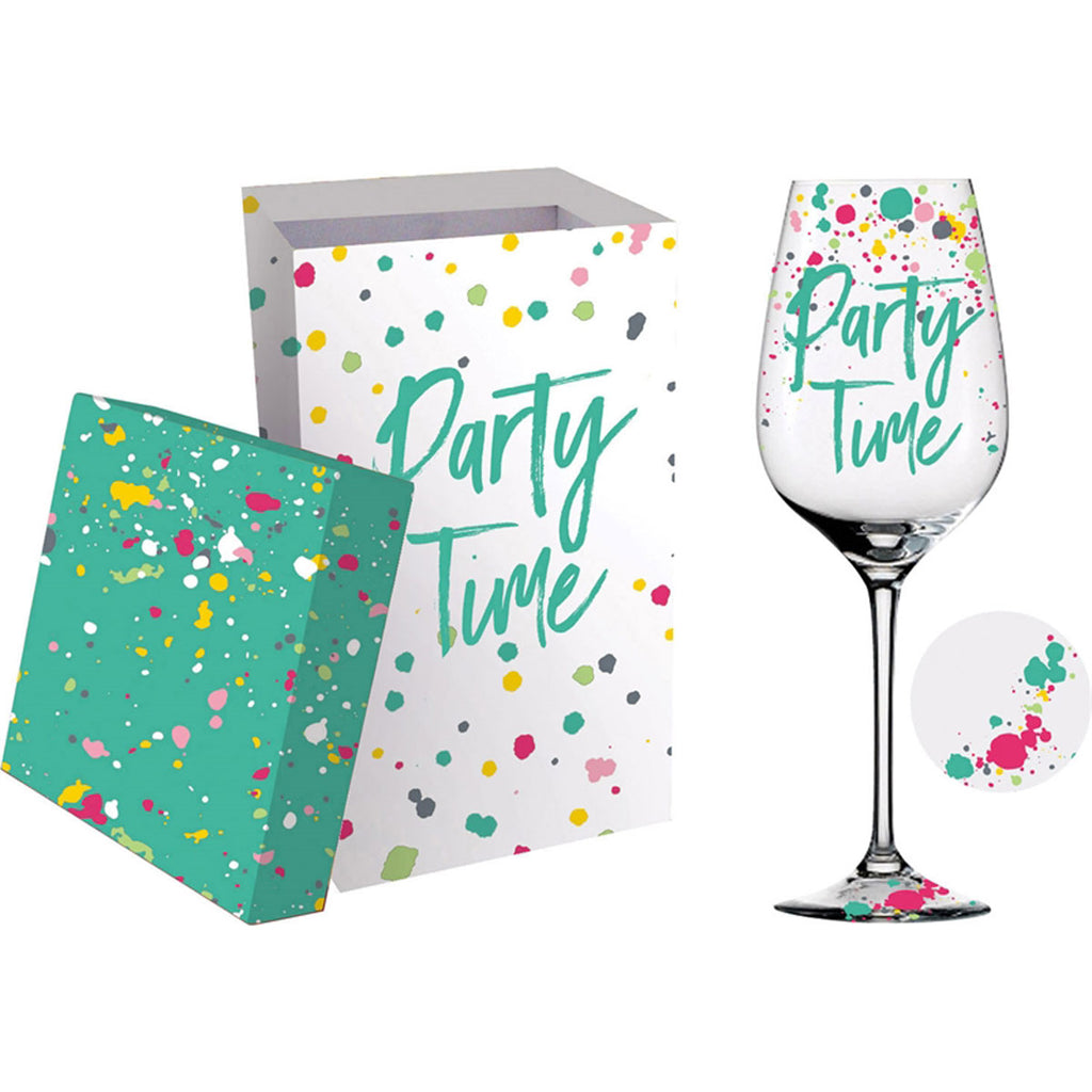 Wine Glass w/Box, 12 OZ., Party Time