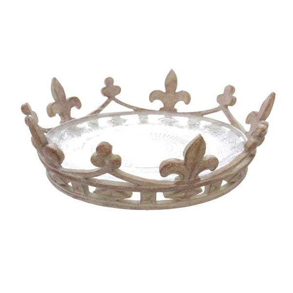 Crown Serving Tray Antique White
