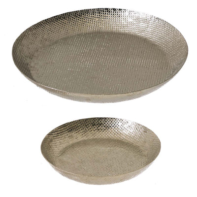 Silver Hammered Trays, Set of 2