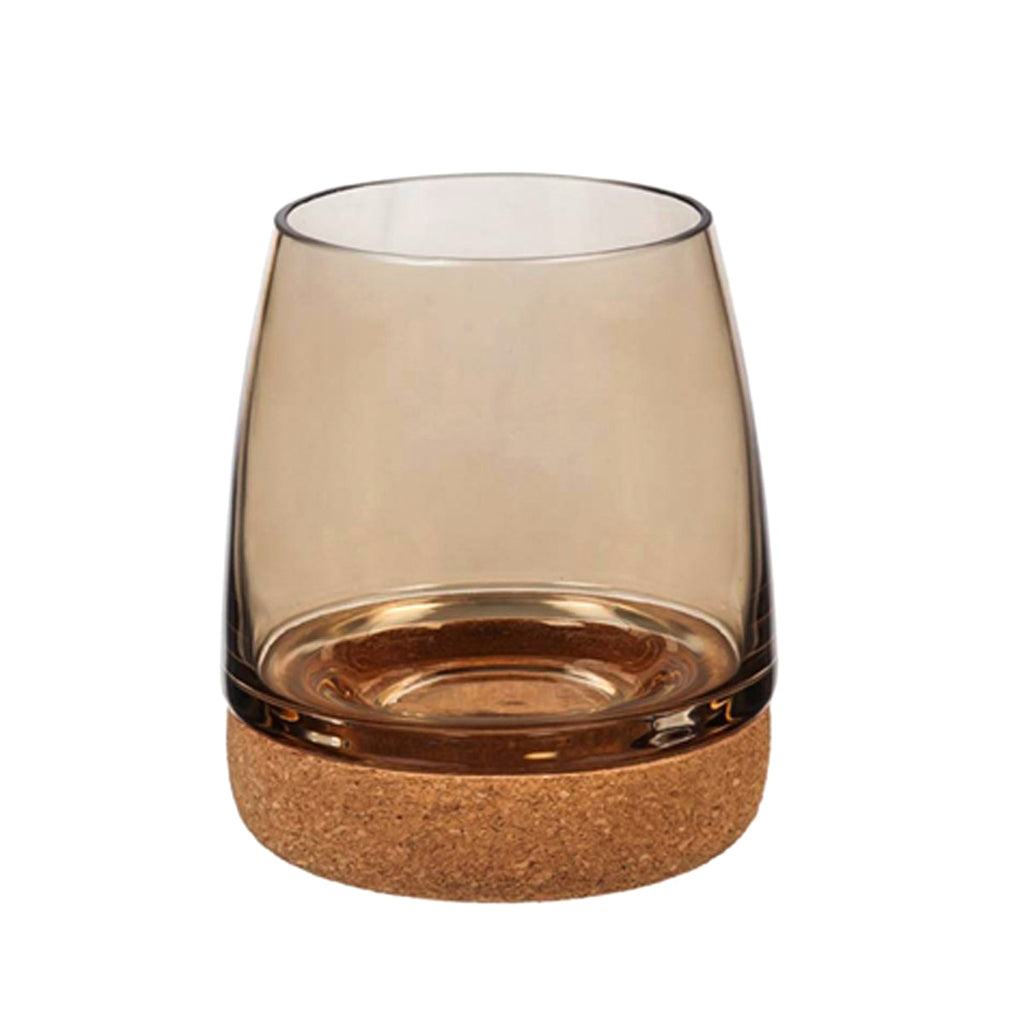Stemless Wineglass w/ cork bottom-Brown