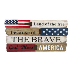 Hinged Wall Plaque - Land of the free because of the brave. God Bless America