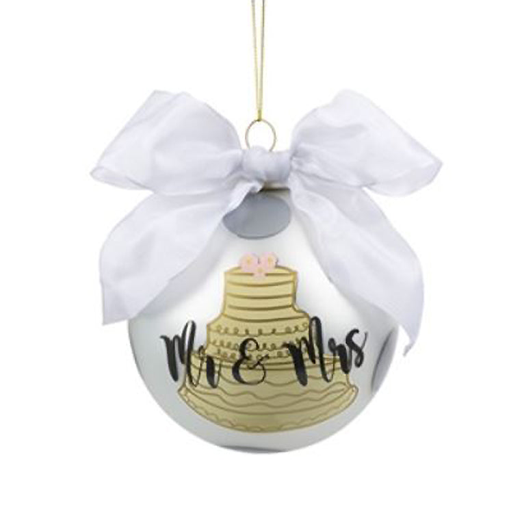 Mr. And Mrs. Wedding Cake Frosted Ornament