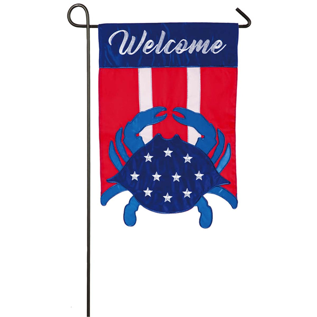 Americana Crab Welcome Garden Applique Flag