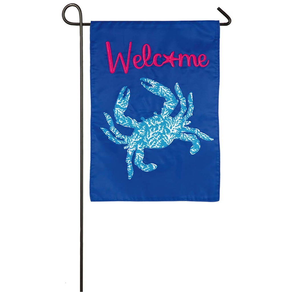 Crab Welcome Garden Applique Flag