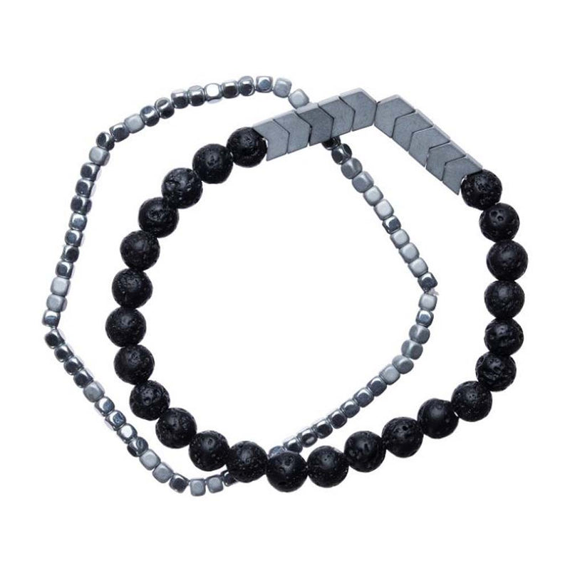 2 Strand Bracelet Set - Silver Chevron & Black Lava Beads