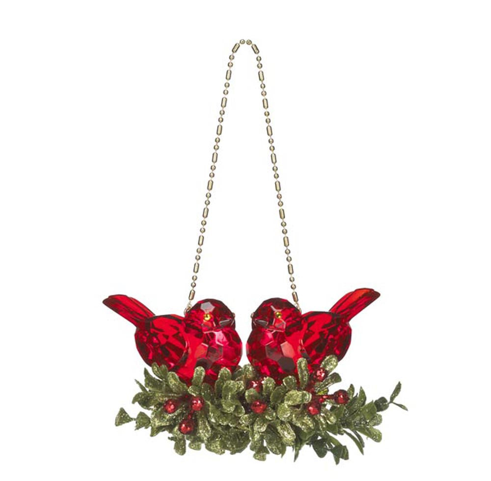 Double Krystal Bird Mistletoe Ornament