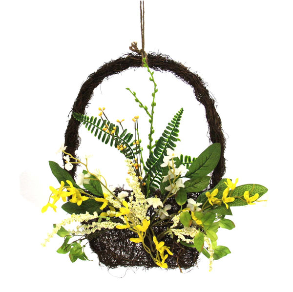"Spring Floral 16"" Basket Wreath"