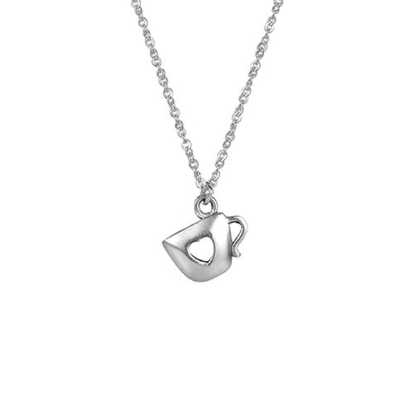 "18"" Sterling Silver Heart Shape Hole in Cup Necklace ""Fill Your Cup"","