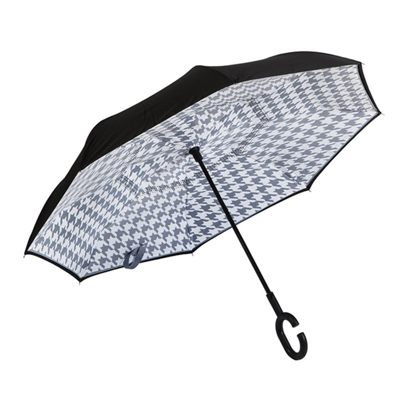 Houndstooth Inverted Umbrella, Black/Gray
