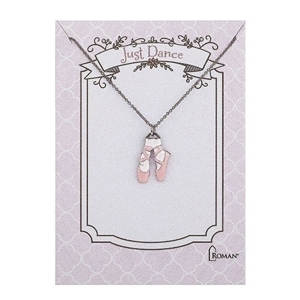 """Just Dance"" Pink Ballet Shoes Necklace, 15"""