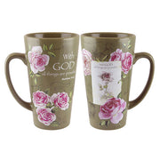 "Latte Mug, ""With God..."", Roses"