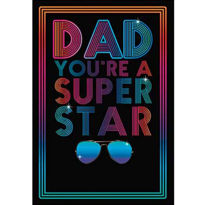 Father's Day Card: Neon sign: Dad you're a super star