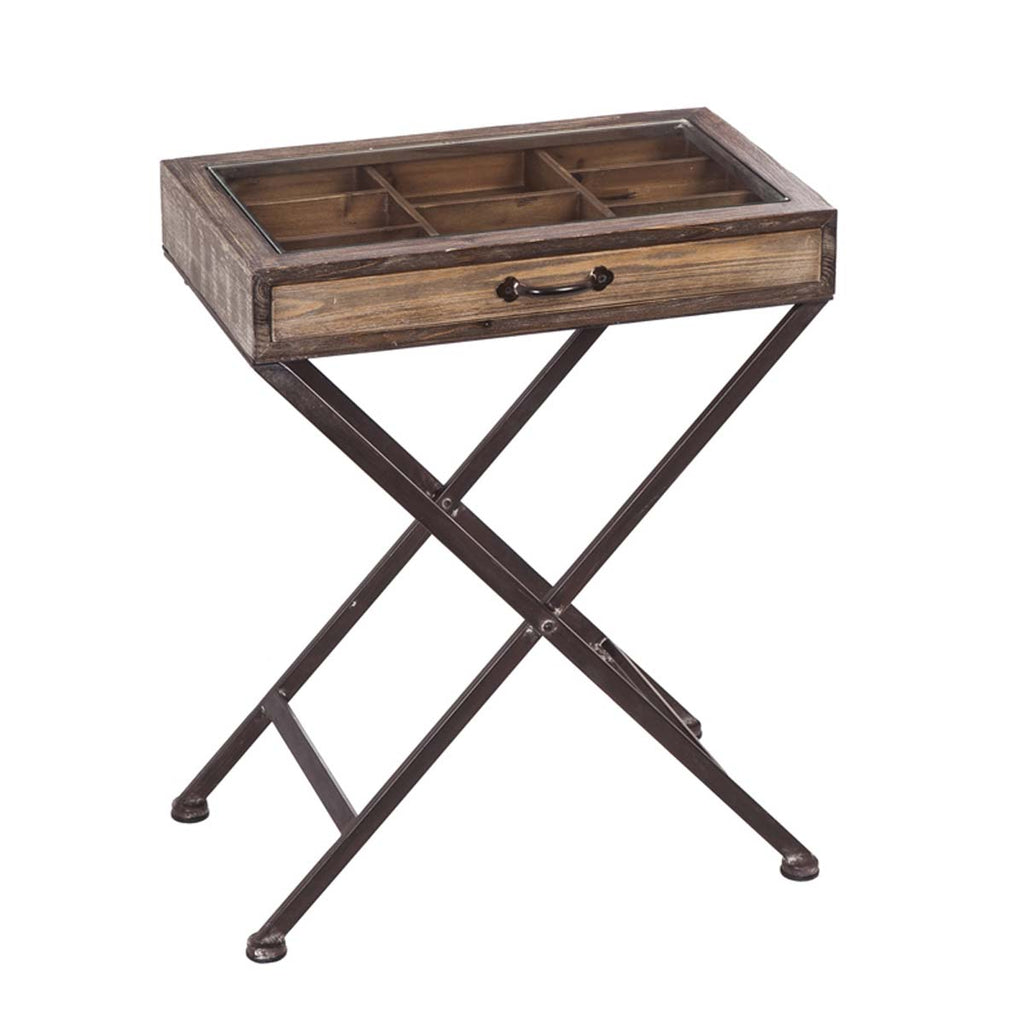 Wood Collectible Table with Metal legs