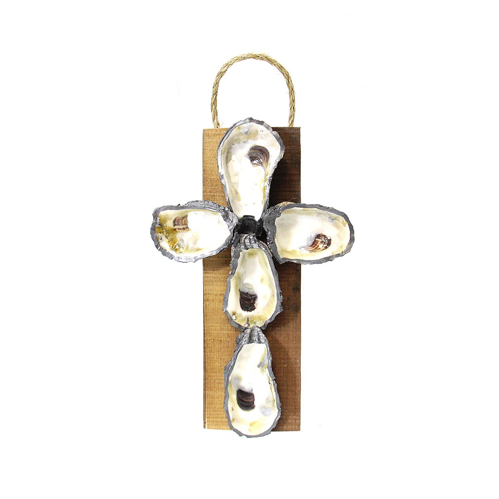 Oyster Shell Cross Small Pewter