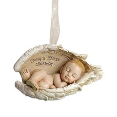 """Baby's 1st Christmas"" Ornament Angel Wings"