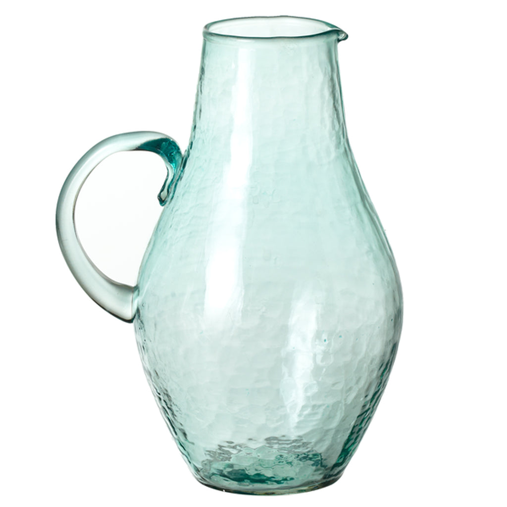 Recycled Hammered Glass Pitcher