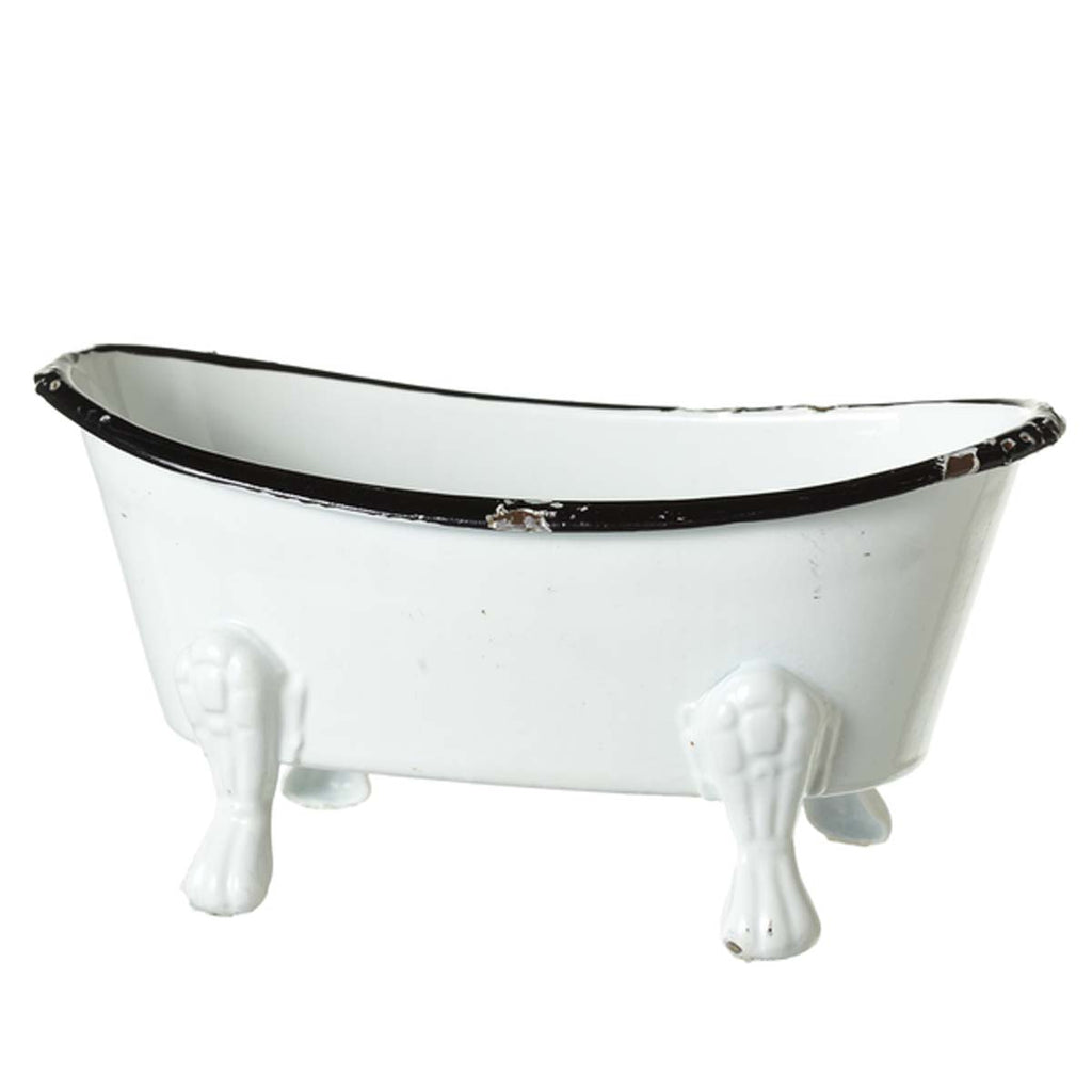 Mini Black & White Enamel Bathtub  Soap Dish
