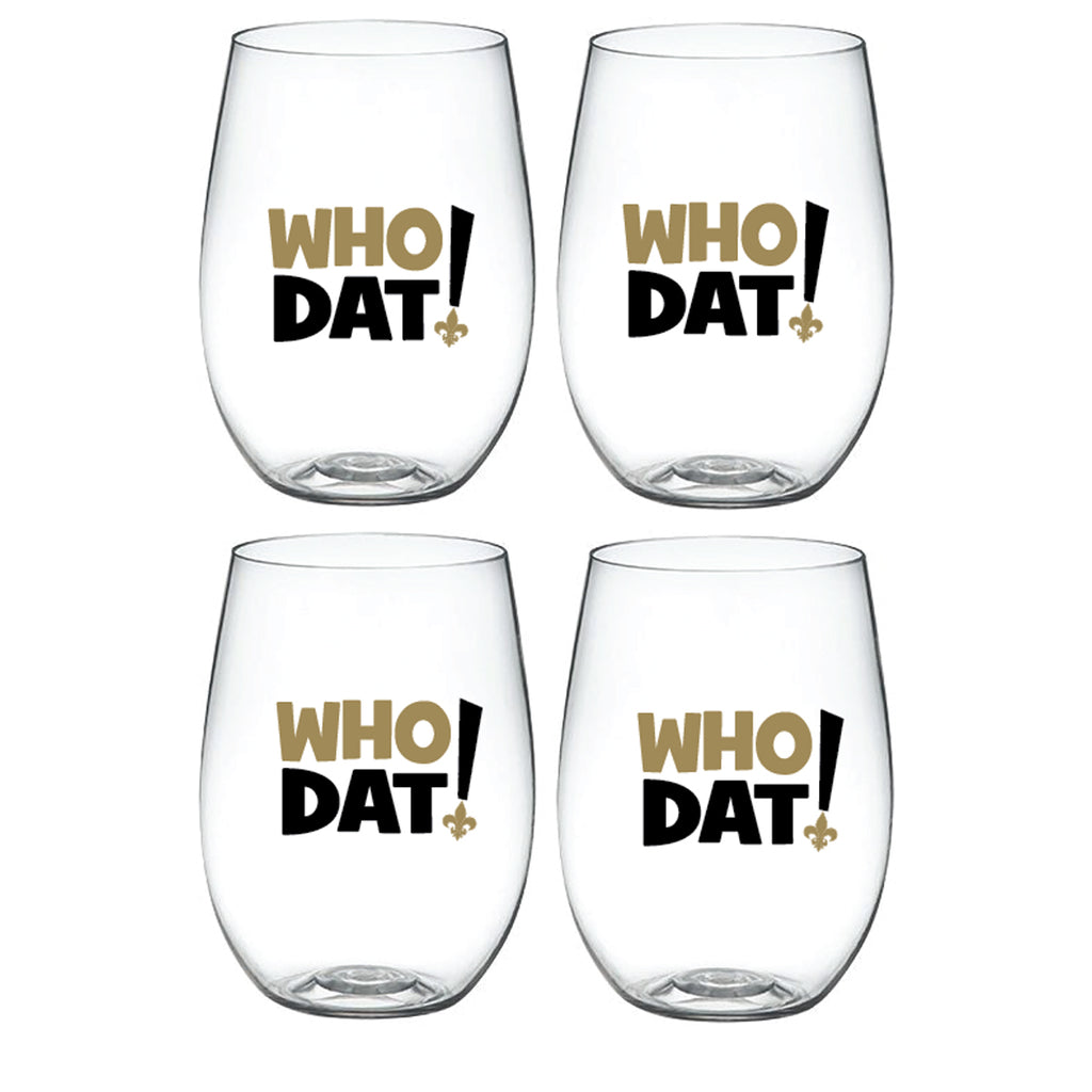 WHO DAT! – 'Wine-Oh!' Shatterproof Designer Wine Glasses