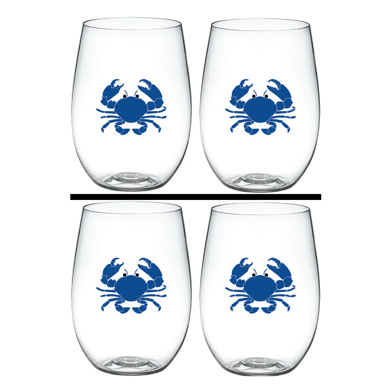 BLUE CRAB – 'Wine-Oh!' Shatterproof Designer Wine Glasses