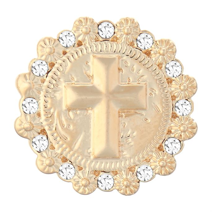 Ginger Snaps Cross with Stones Gold Snap