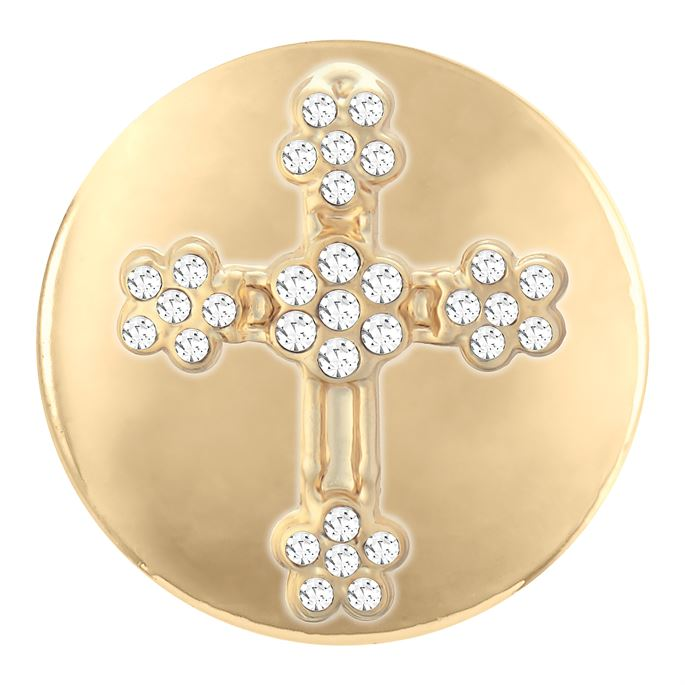 Ginger Snaps Flower Stone Cross Gold Snap