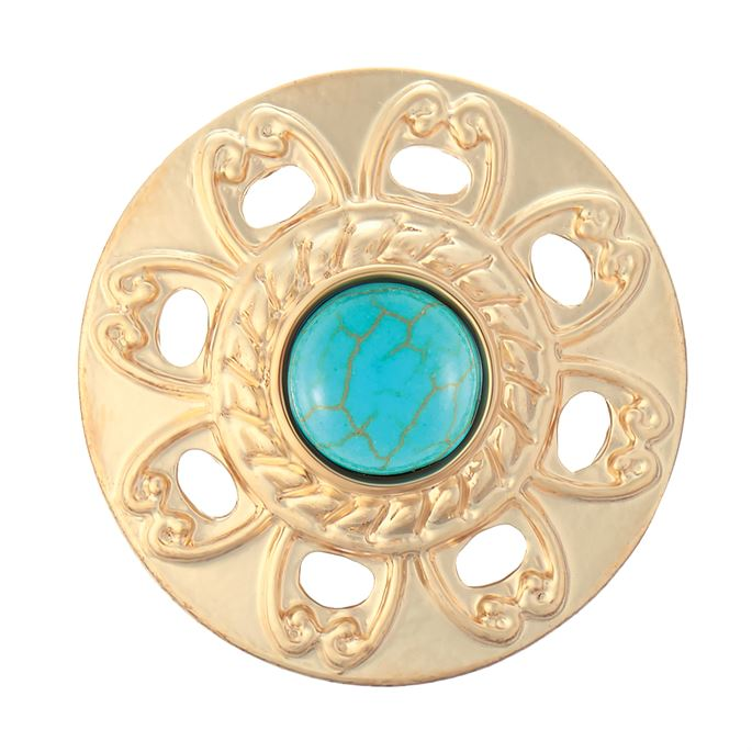 Ginger Snaps Turquoise Flower Cut Out Gold Snap