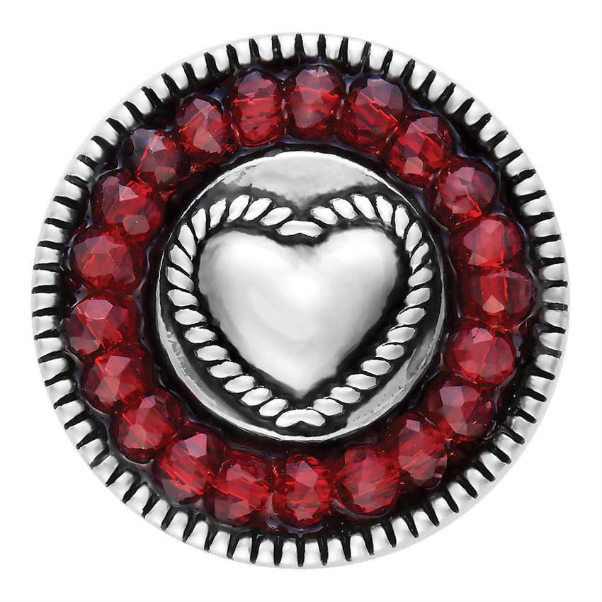 Ginger Snaps Red Faceted Heart Snap