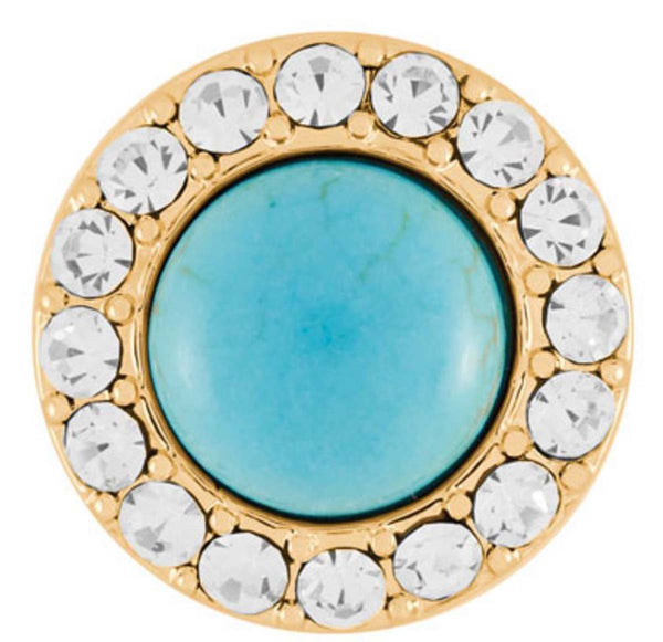 Ginger Snaps Antique Gold Turquoise Clear Snap