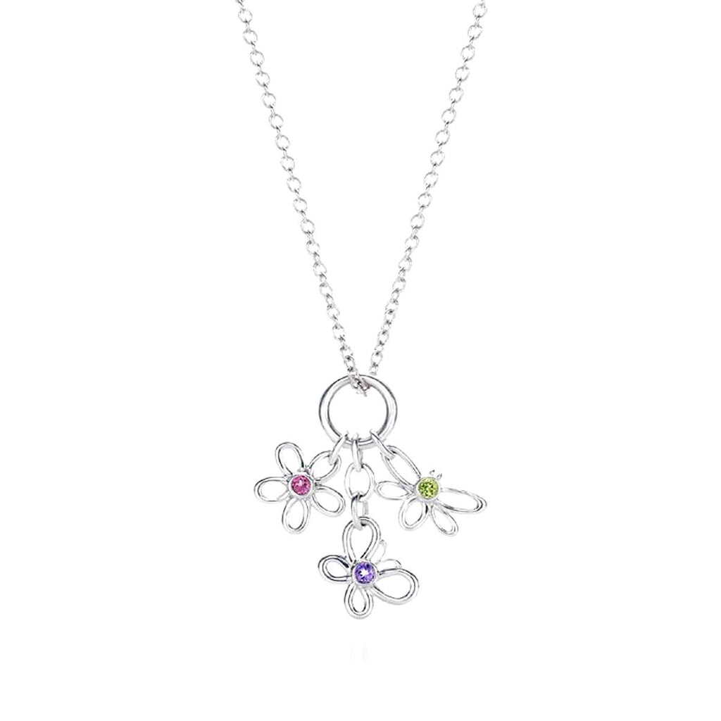Flower Butterfly Dragonfly Sterling Silver Necklace