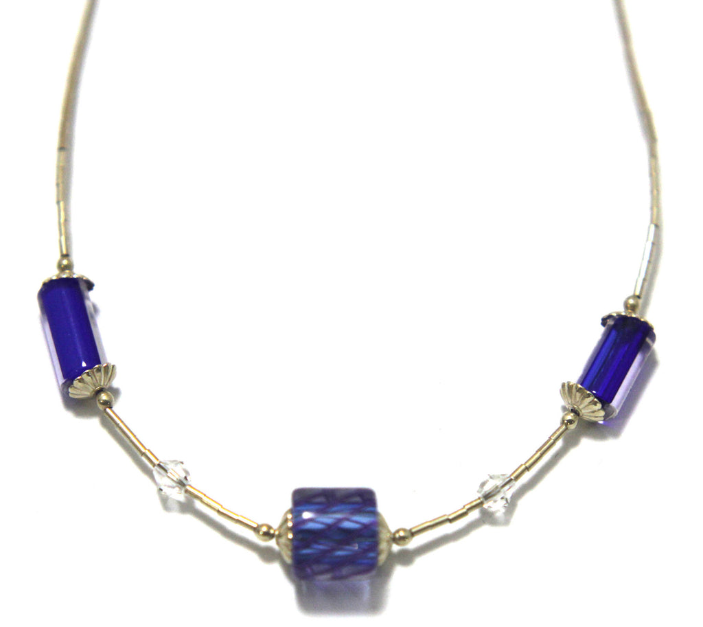 Necklace Glass Bead Blue Sterling