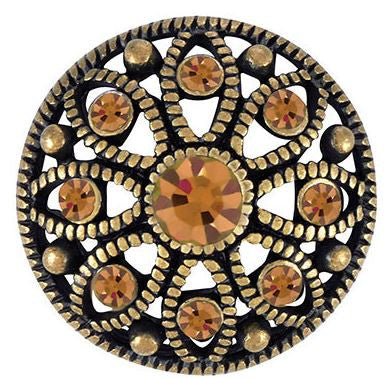 Ginger Snaps Antique Brass Mae Flower - Topaz Snap