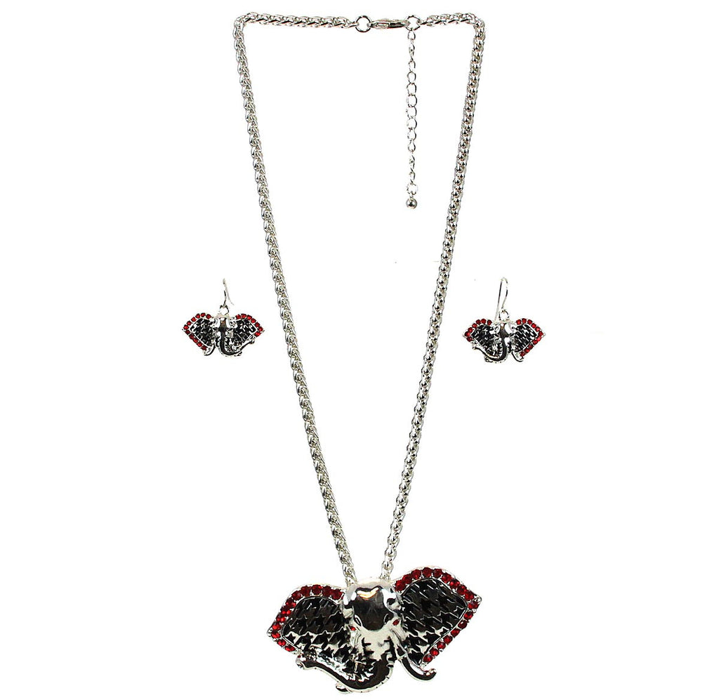 Elephant Houndstooth Necklace & Earrings