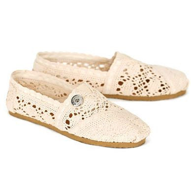 Ginger Snaps Marietta Crochet Lace Flats - Ivory Size 9