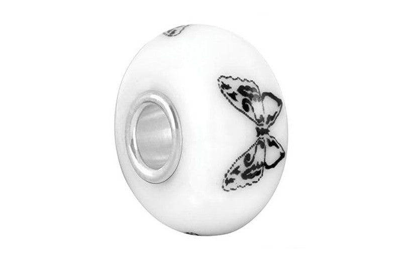 Butterfly Stamp Glass Bead - White
