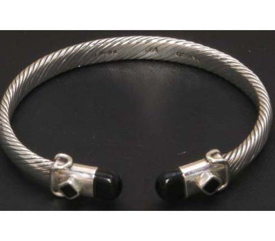 Sterling Silver Twisted Cable Bangle Onyx