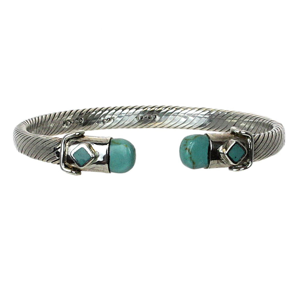 Sterling Silver Turquoise Twisted Cable Bangle