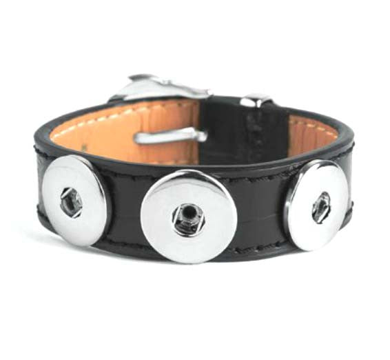 Ginger Snaps Bracelet 3 Snap Black Buckle