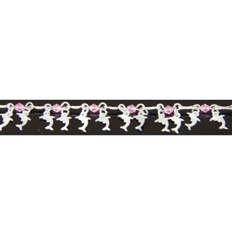 Ankle Bracelet Dolphins Pink adjustable to 11""