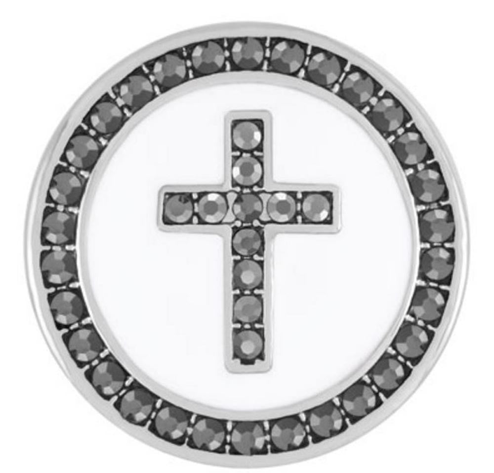 Ginger Snaps White Enamel/Hematite Cross Snap
