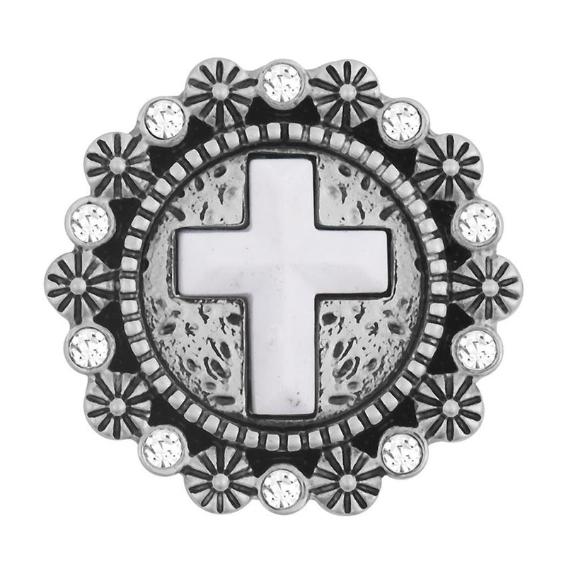 Ginger Snaps Cross in White Stone Snap